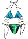Lantejoulas halter o-ring gravata bandage swimwear conjunto de biquíni brasileiro