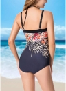 Plus Size Print Halter Backless Sleeveless Strappy One Piece Swimsuit