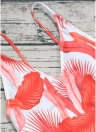 Leaf Print V Neck Backless Sleeveless One Piece Swimsuit