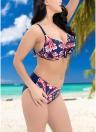 Contrast Print Underwire Bikini Set