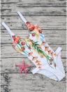 Monokini imbottito senza schienale con scollo a V con stampa floreale