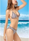 Contraste Listrado Halter Triangle Push Up Bikini Set