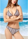 Bikini push up a triangolo con motivo a contrasto