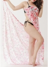 Praia Floral Impresso Cover Up Bikini Cover-up Dress