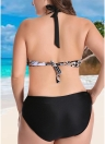 Plus Size Contrast Print Bikini Set