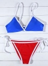 Contrast Color Block Bandage Tie-Thongs Bikini Set
