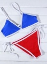 Contraste Color Block Atadura Tie-Thongs Bikini Set