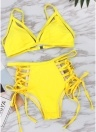 Femmes Strappy Bikini Set Bandage Maillots de bain taille haute Bikini Set Beachwear