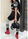 Women Sports Two-Piece Set Letter Print  High Waist Bodycon Jumpsuit Race Suit