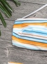 Mulheres Strapless Swimsuit Listrado Halter Bikini Set Praia Swimwear Maiô