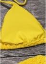 Women Bikini Set Solid Shirred Halter Top Bottom Beach Swimwear Swimsuit Bathing Suit