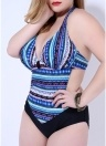 Mulheres Plus Size Swimsuit One-Piece Boho Sriped Imprimir Swimwear Playsuit Macacão Macacão