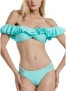 Costumi da bagno donna Bikini Set Solid Ruffle Falbala Perizoma Monokini Costumi da bagno