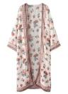 Mulheres Chiffon Kimono Cardigan Biquíni Cover Ups Estampa Floral Boho Long Beachwear