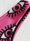 Mulheres Imprimir Bikini Set Caged Strappy Top Alta Perna Swimsuit Praia Swimwear