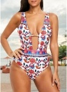 Impressão Floral Mergulho V Neck cintura alta Backless One Piece Swimsuit