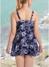 Plus Size Floral Print Spaghetti Strap Summer Swimsuit