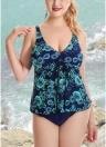 Plus Size Floral Print Spaghetti Strap Summer Swimsuit