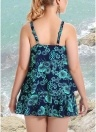 Plus Size Blumendruck Spaghetti Strap Sommer Badeanzug