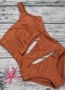 One-Shoulder-Sleeveless gepolsterte drahtlose einteilige Badebekleidung