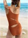 One Shoulder Cut Out Sleeveless Padded Wireless One-Piece Swimwear