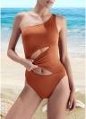 Um ombro cortado sem mangas acolchoado sem fio Swimwear de uma peça
