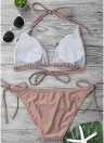 Conjunto de bikini de lazo con lazo halter de color liso