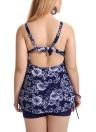 Completo bikini a coste con coulisse e stampa floreale