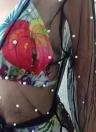 Durchsichtiges Mesh-Faux-Perlen-Bördeln Offenes Vorderes langärmliges Split-Bikini-Oberteil