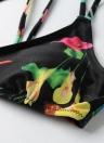 Sexy Frauen-Bikini-Satz Halter-Blumendruck Drahtlose Padded Verband zwei Stück Badeanzug Bademode Badeanzug-Grün