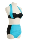 Donne sexy bikini Contrasto Color Block ferretto Scollo all'americana vita alta inferiore del vestito Beach Swimwear Swimsuit Bathing