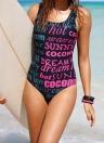 Frauen Badeanzug Brief drucken Rückenausschnitt Padded Wireless-Badebekleidung Tankini Strampler Overall Schwarz