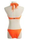 Sexy Frauen-Bikini-Satz-Verband Gesäumten Halter Under Push Up Riemchen Strand-Badebekleidung Badeanzug-Badeanzug Orange / Blau