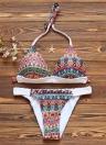 Sexy Frauen-Bikini-gesetzte Badebekleidung Badeanzug Print Selbst Tie Neckholder Padded Two-Piece Badeanzug Bademode Blau