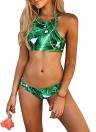 Tropical Leaf Print Bandage Padded Bikini