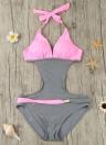 Nuovo donne sexy un pezzo del costume da bagno di contrasto Color Block Halter Backless Beach Swimwear costume da bagno