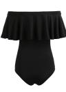 Neue reizvolle Frauen Bodysuit-Overall-One-piece Badeanzug weg Schulter Fest Strand-Badebekleidung Badeanzug Kurz Strampler kräuselte