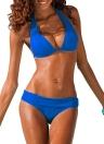 Femmes Sexy Bikini Halter solide Costume rembourré sans fil Bain Maillots de bain Maillots de bain Deux Piece