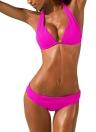 Sexy Frauen-Bikini-Satz Halter Feste Padded drahtloser Badeanzug Bademode Badeanzug Zweiteiler