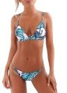 Bikini sexy delle donne Set Tropical Leaves Stampa imbottito Sopra Sotto Beach Swimwear del costume da bagno del vestito blu