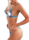 Sexy Bikini Mulheres Set Tropical Leaves Impressão acolchoado Superior Inferior Suit Praia Swimwear Swimsuit de banho azul