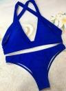 Femmes Sexy Bikini Maillots de bain Maillot de bain Croix Retour rembourrée Brief deux pièces maillot de bain Beachwear Bleu
