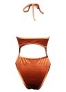 Sexy Frauen Velvet Badeanzug Neckholder Ausschnitte Bade Monokini Badeanzug Bademode orange