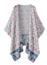 Frauen-Sommer-Chiffon- Blusen-Kimono Boho Blumen lange lose Strickjacke Strand-Vertuschung-Rosa