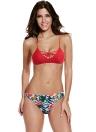 Sexy Women Bikini floreale fogli Stampa imbottito inferiore superiore della fasciatura trasversale Beach Swimwear del costume da bagno costume da bagno rosso