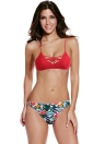 Sexy Frauen-Bikini-Set Blumenblätter Padded Oben Unten Querverband-Strand-Badebekleidung Badeanzug-Badeanzug Rot Drucken