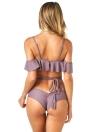 Donne sexy bikini Swimwear spalle Ruffle fasciatura trasversale della nappa Beach Swimsuit costume da bagno
