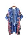 Neue Frauen Chiffon Kimono Cardigan Blumen Geometric Print Boho lose Oberbekleidung Bademode Bikini-Vertuschung-Blau