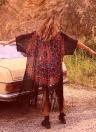 Chiffon-geometrischen Print Fringe lose lange Kimono