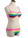 Sexy Bikini Mulheres Set Gradient do arco-íris impressão Underwire 3/4 copos de banho Fatos de banho fato de duas peças de Rosa